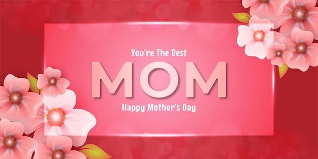 유리 사각형 효과와 꽃이있는 어머니의 날