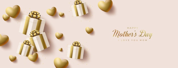 День матери с золотой подарочной коробкой и воздушными шарами.