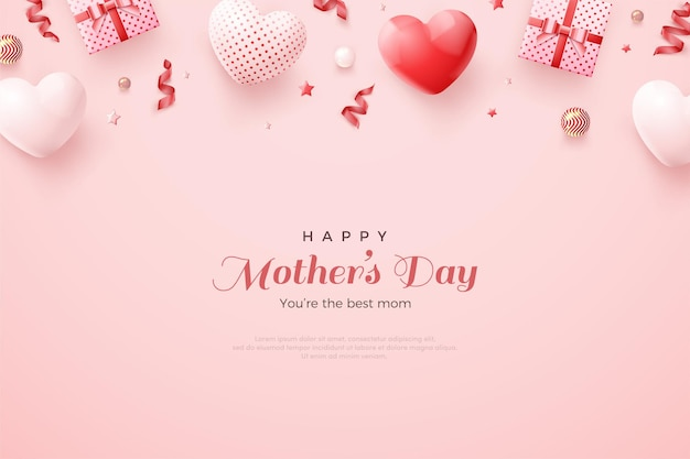Mother's day with gorgeous 3d red and white balloons.