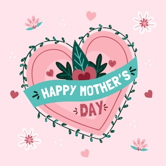 Mother's day with heart and leaves