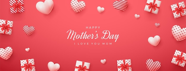 Mother's day with red background and 3d gift box illustration.