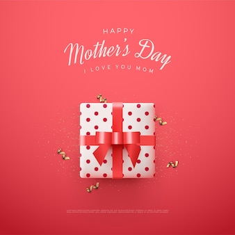 Mother's day with white gift box illustration on red background.