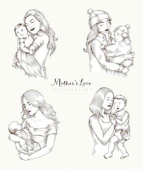 Материнская любовь иллюстрация набор