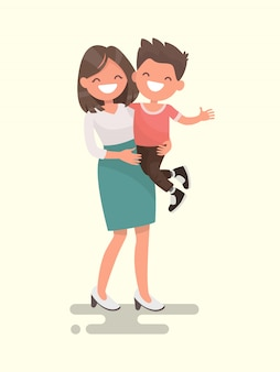 Mother's love. mom and son illustration