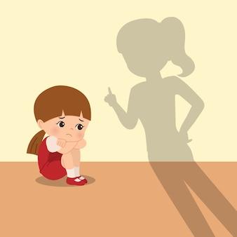 어머니는 딸을 장난스럽게 꾸짖습니다. 육아 클립 아트. 슬프고 무서워하며 엄마에게 징계를받는 소녀. 평면 흰색 배경에 고립입니다.