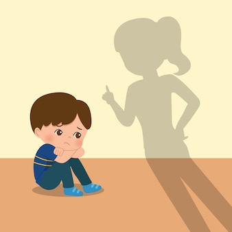 Mother scold son for being naughty. parenting clip art. boy feeling scared and being disciplined. flat isolated on white background.