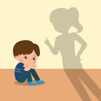 어머니는 아들을 장난스럽게 꾸짖습니다. 육아 클립 아트. 겁을 먹고 징계를받는 소년. 평면 흰색 배경에 고립입니다.