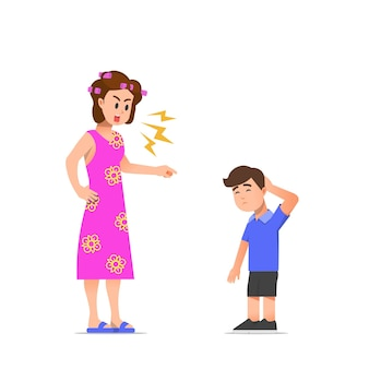 A mother scolding her son illustration