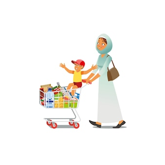 Mother shopping with little son cartoon vector