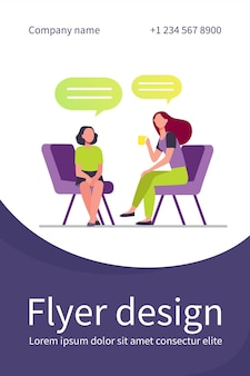 Mother sitting on chair and talking with daughter. cup, speech bubble, conversation flat flyer template