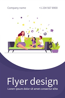 Mother sitting on sofa with kids and using smartphone. couch, online, leisure flat flyer template