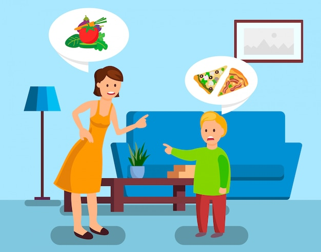Mother and son arguing color vector illustration