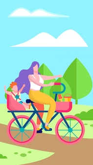 Mother and son on bicycle flat vertical illustration
