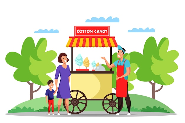 Mother and son buying cotton candy in kiosk Premium Vector