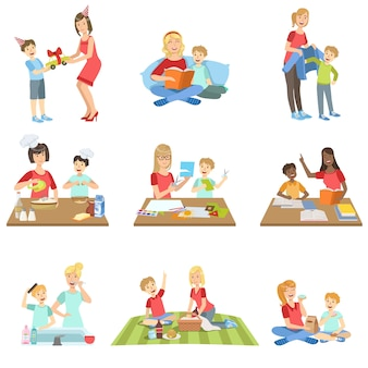Mother and son passing time together set of illustrations