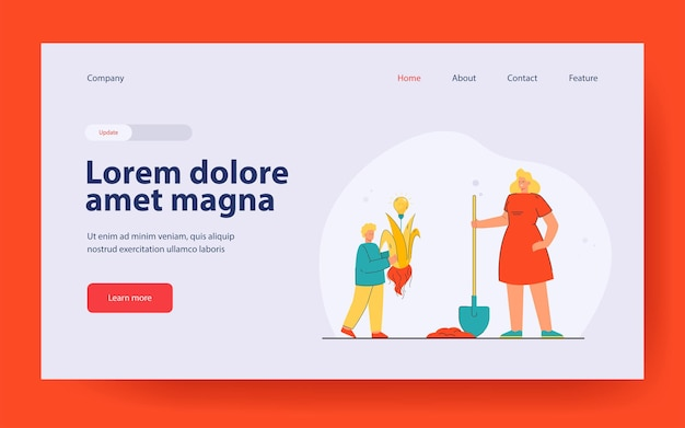 Mother and son planting creative idea landing page in flat style