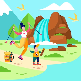 Mother son trip card family outdoors illustration
