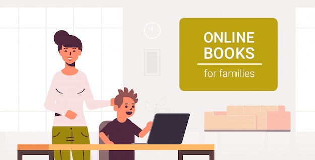 Mother and son using laptop reading online books for family e-learning woman helping his child to do homework modern living room interior