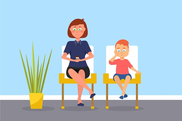 Mother and son in waiting room illustration, parent with child sitting in hospital reception area.