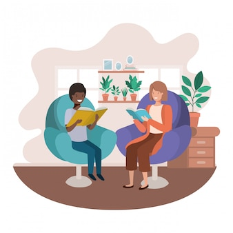 Mother and son with book in livingroom avatar character
