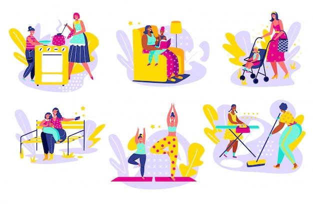 Мать тратить время с дочерью, рука рисовать иллюстрации. счастливая мама приготовления, очистки и чтения вместе с дочерью, прогулки в парке и занимаюсь йогой. семейная мама мультипликационный персонаж