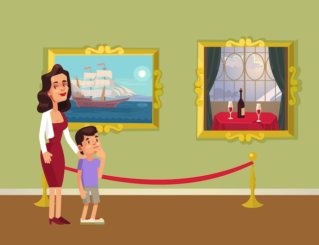 Mother and sun character looking at pictures in gallery, flat cartoon illustration