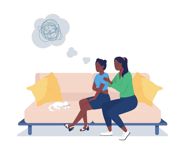Mother support daughter semi flat color vector character. sitting figures. full body people on white. teen problems isolated modern cartoon style illustration for graphic design and animation