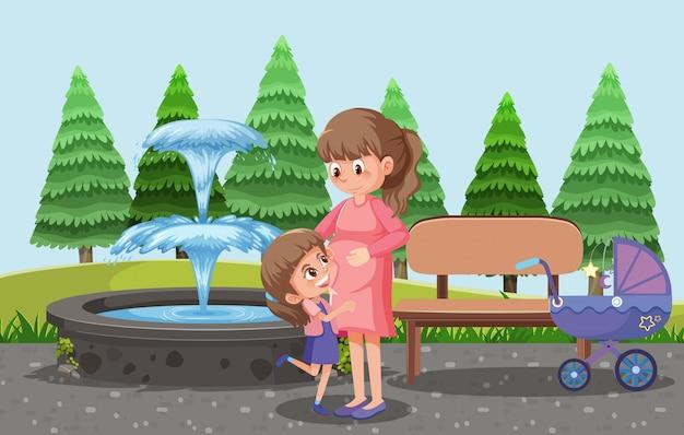 어머니는 그녀의 아이들과 유모차를 공원 만화 스타일로 데려가십시오.
