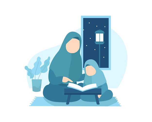 A mother teaches her daughter to read quran