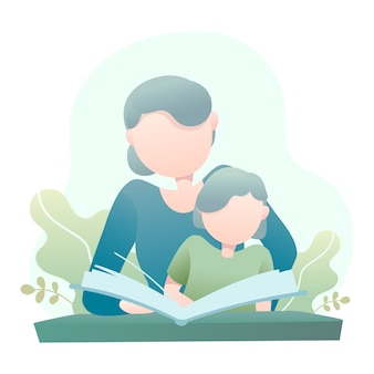Mother teaches her daughter reading a book illustration