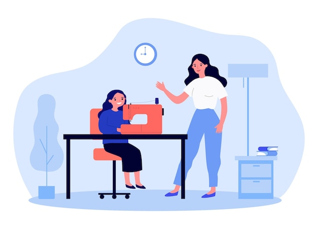 Mother teaching daughter to use sewing machine. woman explaining to girl how to make or repair clothes flat vector illustration. family, education concept for banner, website design or landing page