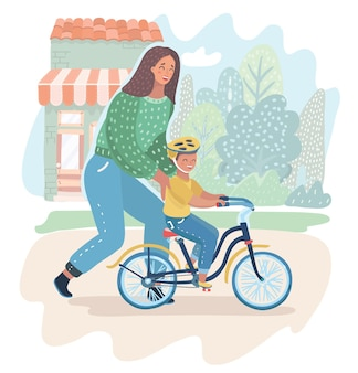 Mother teaching her son to ride bike for the first time. mom teach her boy kid cycling on the nature. parenting, motherhood concept. vector cartoon illustration in modern concept