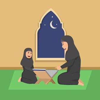 Mother teaching his daughter quran