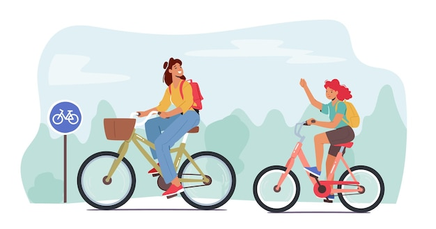 Mother and teenager daughter riding bikes