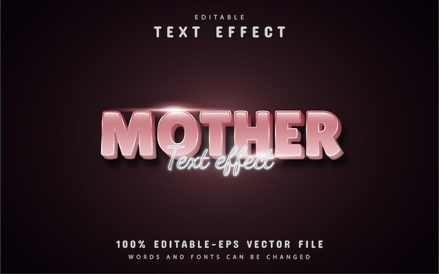 Mother text - 3d pink gradient style text effect editable