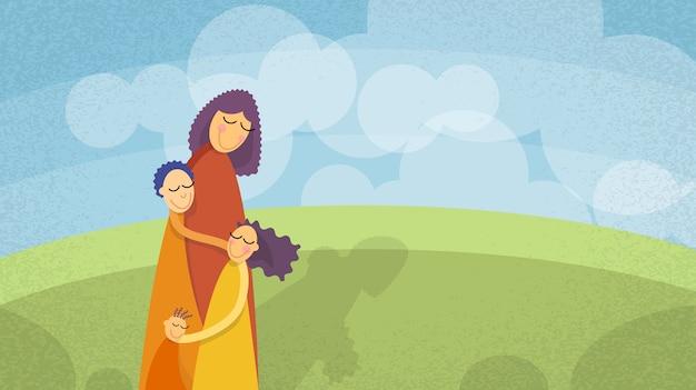Дети троих детей, девушка мальчиков на открытом воздухе
