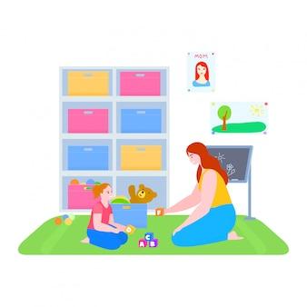 娘のイラスト、漫画のママと子供女の子キャラクターの演奏、白のabcアルファベットの学習と母の時間