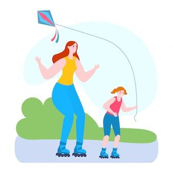 Время матери с дочерью иллюстрации, мультфильма мама и малыш девочка кататься на роликах вместе в парке на белом