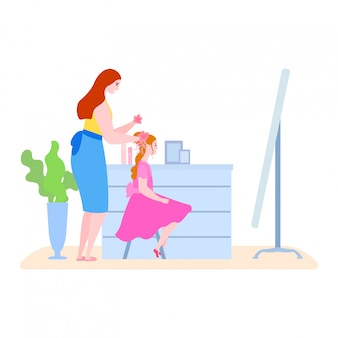 Mother time with daughter  illustration, cartoon  mom making hairstyle to kid girl character in morning routine  on white
