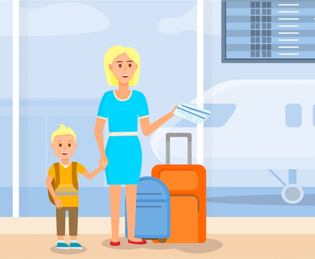 Mother travel with little son cartoon characters.