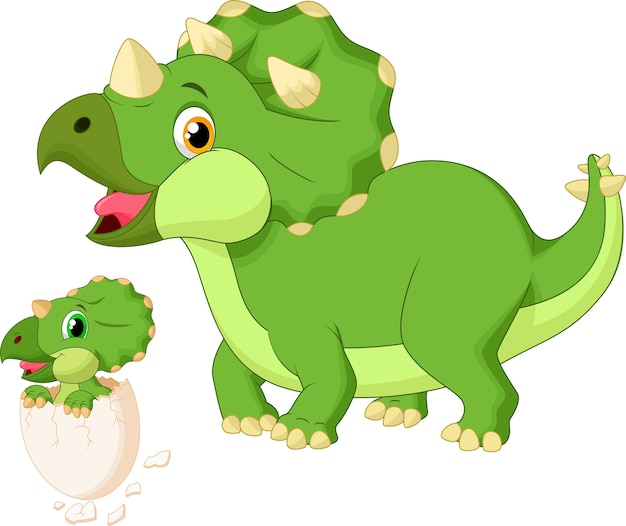 Mother triceratops with baby hatching