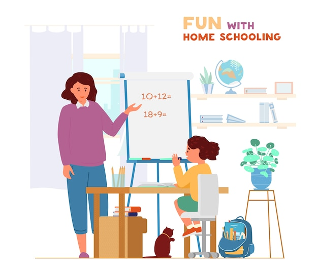 Mother or tutor teaching girl at home