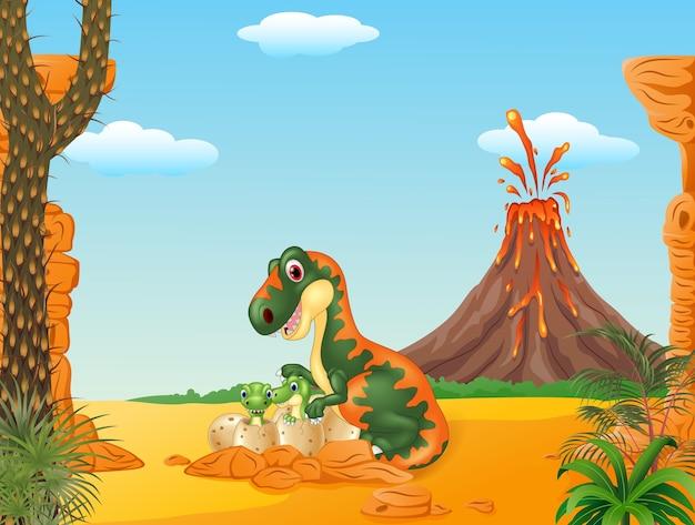 Mother tyrannosaurus and baby dinosaurs hatching