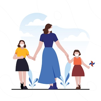 Mother walking with her children
