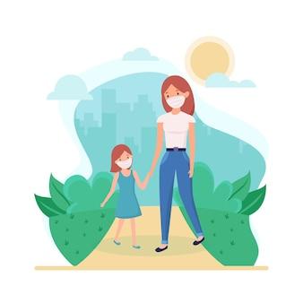 医療マスクで子供と一緒に歩く母