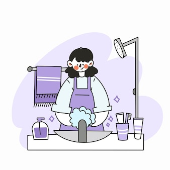 A mother washing hands in the shower doodle  illustration