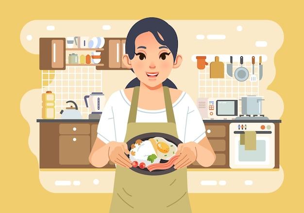 母はエプロンを着て、背景イラストとしてキッチンインテリアと食べ物の完全なプレートを保持しています。ポスター、ウェブ画像などに使用