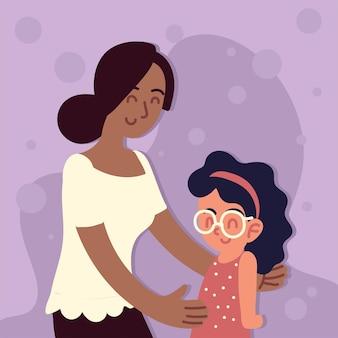 Мать с приемной дочерью