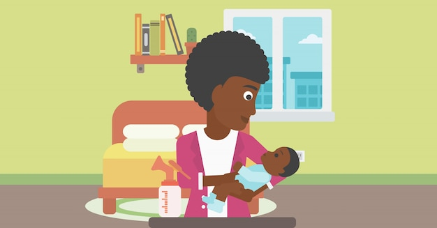 Mother with baby and breast pump.