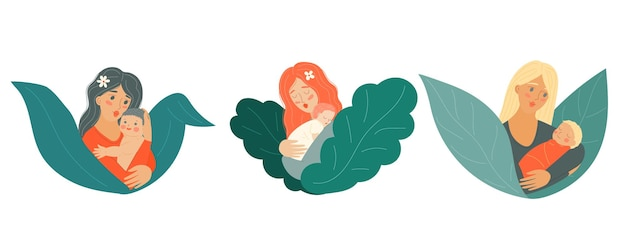 赤ちゃんの子供を持つ母母の日生まれたばかりの親を持つ女性が子供を腕に抱く株式ベクトル